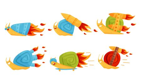 Fast Snails Vector Set. Funny Cartoon Mollusk Characters with Turbo Rocket Boosters. Speedy Childish Creature