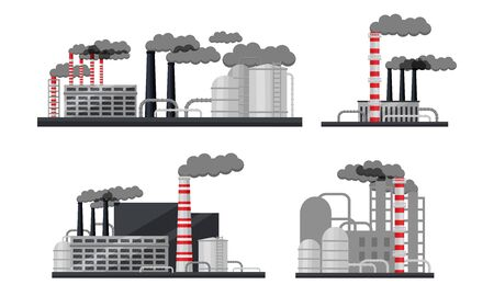 Industrial Buildings and Factories Vector Set. Plants with Chimneys Discharging Manufacturing Smoke