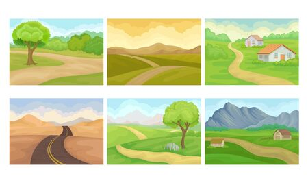 Countryside Landscapes with Hills and Houses Vector Set