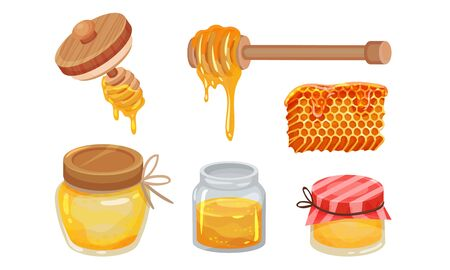 Sugary Honey in Jars and Honey Combs Vector Set. Honey Dipper with Golden Substance Dropping from It