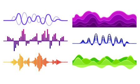 Sound Frequency Waves Vector Set. Audio Equalizer Sound in Various Shapes and Colors