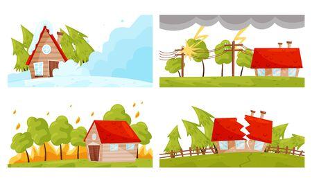 Desastre natural con deslizamientos de tierra y terremotos Vector conjunto de ilustraciones. Concepto de fuerza de la naturaleza
