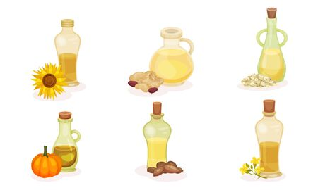 Different Organic Oils Poured in Glass Jars with Bottle Cap Vector Set