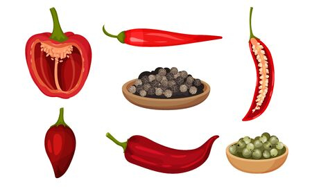 Crossed Cut Bell Pepper and Red Hot Pepper Vector Set. Organic Raw Condiment with Seeds Inside