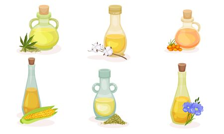 Different Organic Oils Poured in Glass Jars with Bottle Cap Vector Set Reklamní fotografie - 137800692