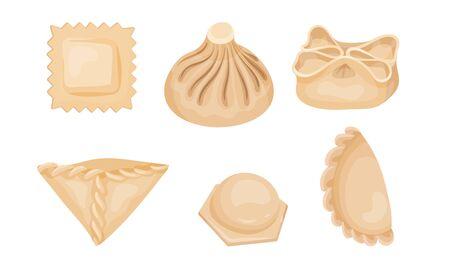 Dumplings of Dough Vector Set. Different Types of Folding Dumplings