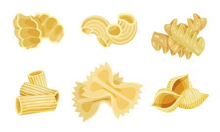 Shaped Pasta Vector Set. Uncooked Wheat Macaroni for Meal Preparation. Cooking Elements Collection