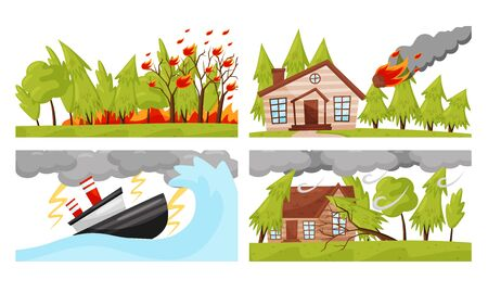 Natural Disaster with Forest Fire and Hurricane Vector Illustrations Set Ilustrace