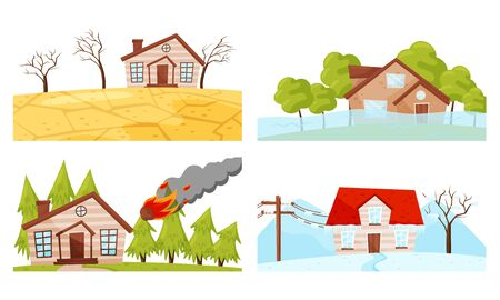 Natural Disaster with Forest Fire and Waterflood Vector Illustrations Set