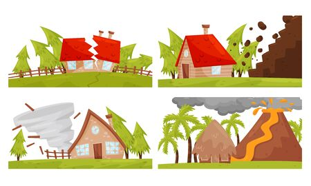 Natural Disaster with Tornado and Volcanic Eruption Vector Illustrations Set