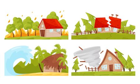 Natural Disaster with Forest Fire and Waterflood Vector Illustrations Set Vecteurs