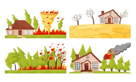 Natural Disaster with Forest Fire and Drought Vector Illustrations Set