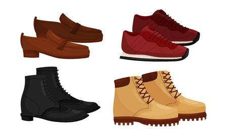 Male and Female Shoes Side View Vector Set. Casual and Formal Footwear