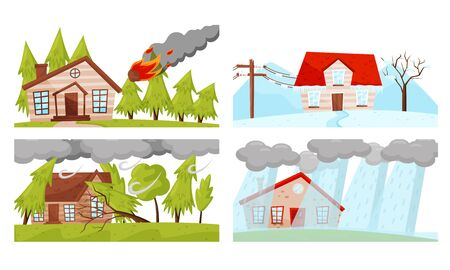 Natural Disaster with Forest Fire and Hurricane Vector Illustrations Set Illusztráció
