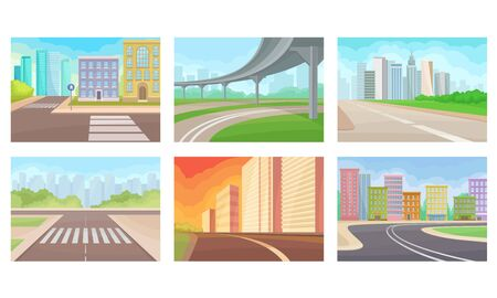 Urban Roads and Motorways Vector Illustrations Set Stock Vector - 137891083