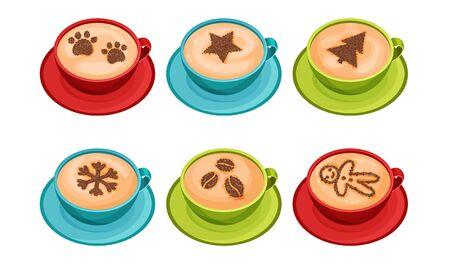 Cups of Coffee with Latte Art on Top Vector Set Stock Illustratie