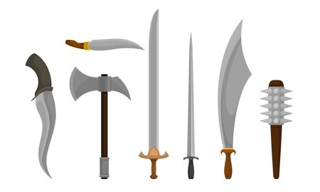 Medieval Weapons Vector Set. Ancient Metal Swords for Protection  イラスト・ベクター素材