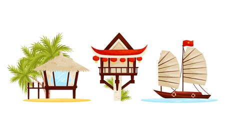 Asian Resort and Holiday Symbols with Water Transport and Beach Hut with Straw Roof Vector Set