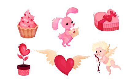 Valentines Day Romantic Symbols and Attributes with Bow Boy and Rabbit Vector Set Illusztráció