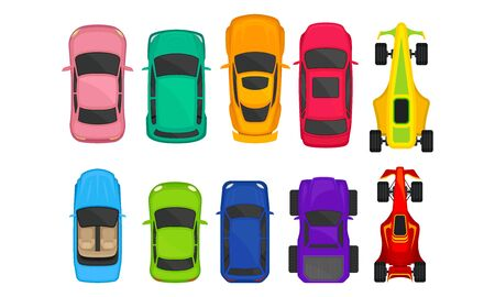 Passenger and Sportive Cars View From Above Vector Set