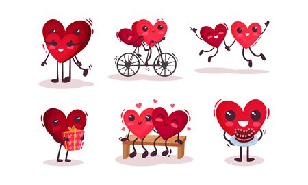 Two Hearts Cartoon Character Doing Funny Activities Together Vector Set