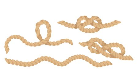 Rope Fastening in Different Knots Isolated on White Background Vector Set Vettoriali