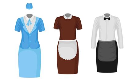 Working Uniform Vector Set. Wear and Clothing Suit for Different Occupation Collection Ilustracja