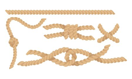 Rope Fastening in Different Knots Isolated on White Background Vector Set Иллюстрация