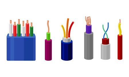 Electric Cables Vector Set. Colorful Electric Wires in Braid Collection. Copper Energy Conductor Concept