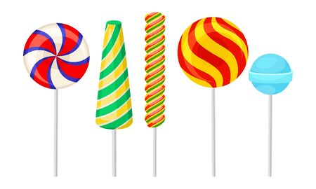 Bright Lollipops and Candies on Sticks Vector Set. Sweet Treatment for Kids Concept