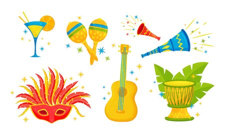 Festive Brazil Attributes and Symbols with Maracas and Carnival Mask Vector Set Illustration