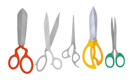 Pairs of Scissors Isolated on White Background Vector Set. Colorful Tool for Different Needs.