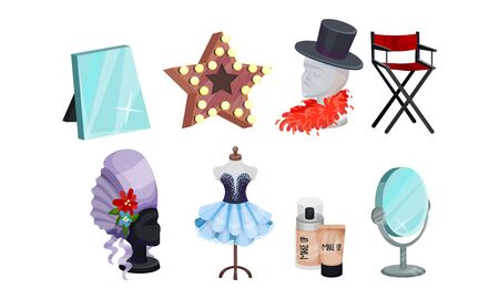 Actress and Actor Dressing or Makeup Room Attributes Vector Set