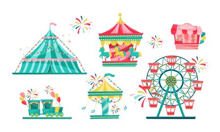 Amusement Park with Funfair Attractions Isolated on White Background Vector Set