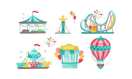 Amusement Park with Funfair Attractions Isolated on White Background Vector Set Banco de Imagens - 138263935