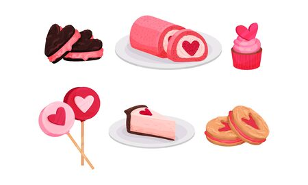 Sweet Cakes and Candies for Love Occasions Vector Set