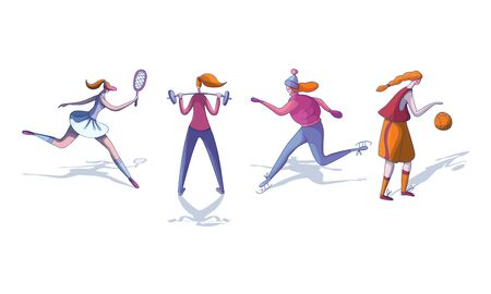 Young Woman Wearing Sportive Clothes Doing Different Sport and Physical Exercises Vector Illustrations Set