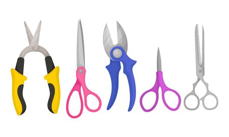 Pairs of Scissors Isolated on White Background Vector Set