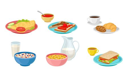 Breakfast Food and Beverages Isolated on White Background Vector Set Çizim