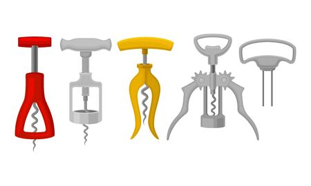 Corkscrews Isolated on White Background Vector Set 일러스트