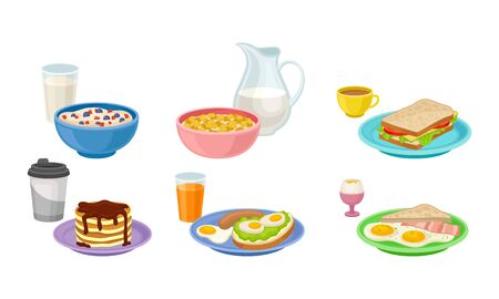Breakfast Food and Beverages Isolated on White Background Vector Set 일러스트