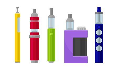 Electronic Cigarettes Vector Set. Metalic E-cigarette Pen Isolated On White Background