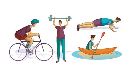 Young Man Wearing Sportive Clothes Doing Different Sport and Physical Exercises Vector Illustrations Set Foto de archivo - 138193149