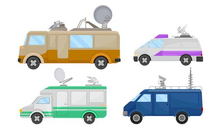 Broadcasting Car with Satellite Antenna Vector Set. Tv Vehicles Collection. Multimedia Reportage Concept Illustration