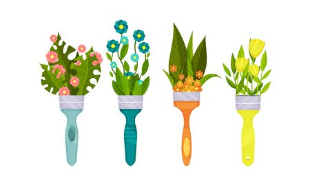 Decorative Leaves and Flowers Peeped out From Paint Brush Vector Set. Botanical Bouquets with Fresh Seasonal Flora Illusztráció