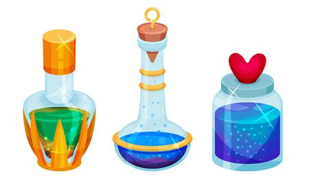Magic Potions and Elixirs with Colorful Liquids Poured in Glass Fancy Shaped Bottles Vector Set. Magical Alchemy for Transformation Concept