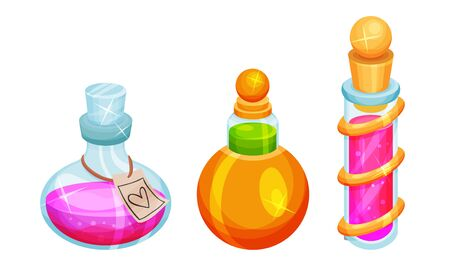 Magic Potions and Elixirs with Colorful Liquids Poured in Glass Fancy Shaped Bottles Vector Set 일러스트
