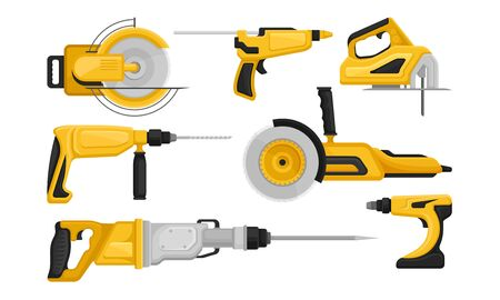 Electric Tools for Repair and Construction Vector Set