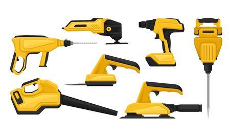 Electric Tools for Repair and Construction Vector Set Ilustração