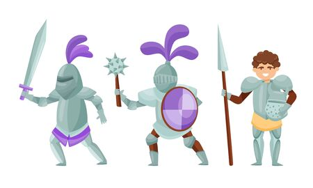 Medieval Knights Wearing Armor and Standing in a Fighting Pose Vector Set 版權商用圖片 - 138264041